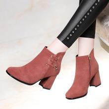 古奇天伦冬季新款休闲加绒英伦短靴粗跟百搭鞋女靴9153