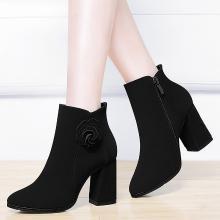 古奇天伦冬季新款加绒高跟鞋百搭时尚马丁靴粗跟磨砂短靴8795