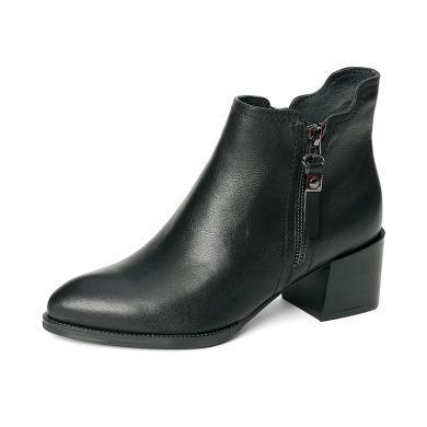 百田森 皮圆头拉链中粗跟时尚荷叶边短靴PYQ18809