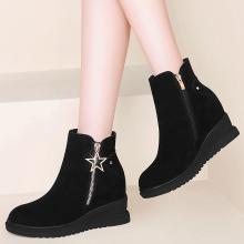 古奇天伦秋冬新款圆头粗跟靴纯色侧拉链短靴女靴91951