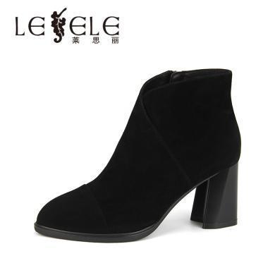 LESELE/萊思麗冬季新款羊猄高跟短靴女 百搭及踝靴粗跟時裝靴KE81-LD4806