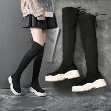 阿么袜靴女厚底2018秋新款过膝弹力靴运动鞋百搭长筒增高瘦瘦靴潮