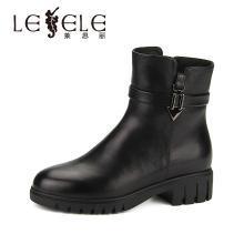 LESELE/莱思丽冬季新款中跟短筒女靴子 牛皮马丁靴粗跟女短靴KE81-LD0454