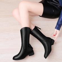 古奇天伦冬季新款圆头粗跟纯色后拉链中筒靴女靴92291