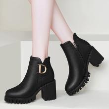 古奇天伦秋冬新款粗跟女靴加绒鞋高跟鞋马丁靴9097