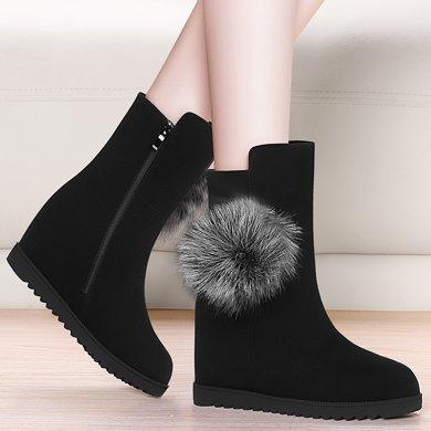 金?#23458;?#20869;增高马丁靴女秋冬季新款英伦风圆头平底靴子女中筒加绒女靴