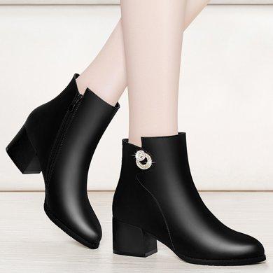 金絲兔大小碼靴子女新款短靴女粗跟中跟秋冬馬丁靴及踝靴英倫風圓頭
