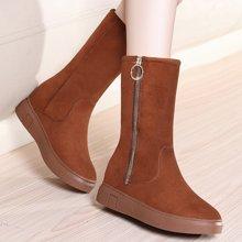 金丝兔平底内增高雪地靴女冬季韩版保暖加绒棉靴女舒适中筒链子女靴