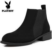 花花公子女鞋短靴女鞋英倫風中跟裸靴女加絨短筒靴子G101750773