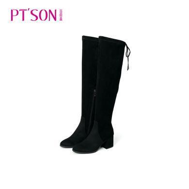 百田森 后邦带修腿保暖舒适弹力过膝高筒女靴PYQ81125