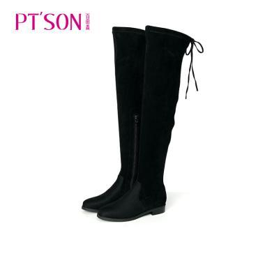 百田森 圓頭舒適過膝平底顯瘦高筒女靴PYQ78352