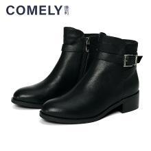 康莉2018冬季新款皮带扣圆头低方跟潮流休闲短靴KYQ13826