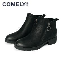 康莉2018冬季新款个性金属扣圆头低粗跟时尚休闲短靴KYQ63090