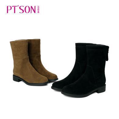 百田森 磨砂羊皮低粗跟纯色简约中筒女靴PYQ18801
