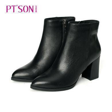 百田森 尖頭粗跟精美拉鏈時尚歐美風短靴PYQ78225