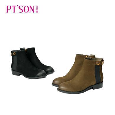 百田森 圓頭拉鏈平跟時尚金屬圈短靴PYQ18822
