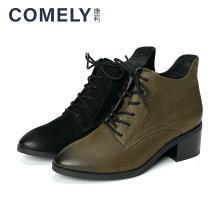 康莉2018冬季新款时尚系带尖头粗低跟潮流短靴KYQ66088