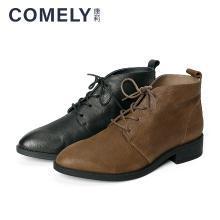 康莉2018冬季新款舒适系带低跟尖头休闲短靴KYQ63098