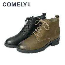 康莉2018冬季新款舒适系带低跟圆头休闲短靴KYQ66099