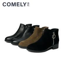 康莉2018冬季新款金属圆扣圆头稳键低粗跟时尚休闲短靴(软面皮)KYQ23103