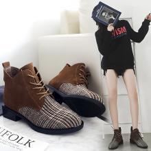 MIJI红人联名2018秋季新款马丁靴女ulzzang靴子女中跟尖头系带英伦风短靴粗跟SH3099