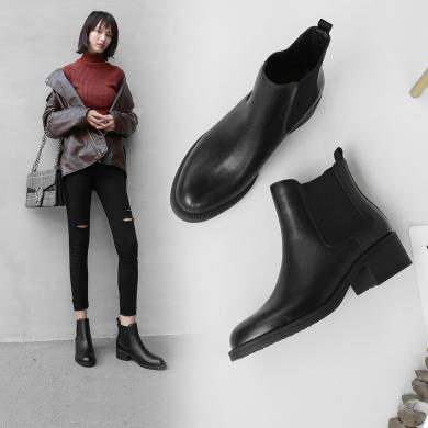 阿么切爾西靴女2018秋冬新款平底裸靴黑色英倫復古小短靴粗跟靴子