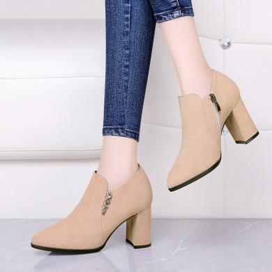 古奇天倫 2019春季新款尖頭粗跟女短靴側拉鏈純色女踝靴切爾西短靴單靴 TL/9323