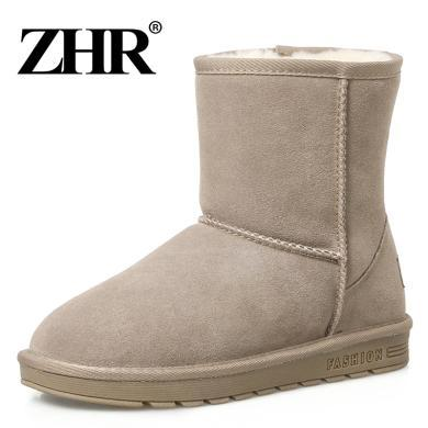 ZHR秋季新款真皮雪地靴女加絨中筒靴平底棉鞋學生厚底女靴子