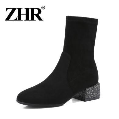 ZHR冬季新款韩版百搭靴子女网红短靴粗跟瘦瘦靴方头中筒袜靴