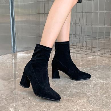 2019秋季新款歐美真皮絨面尖頭襪子靴粗跟短靴女高跟彈力靴子潮