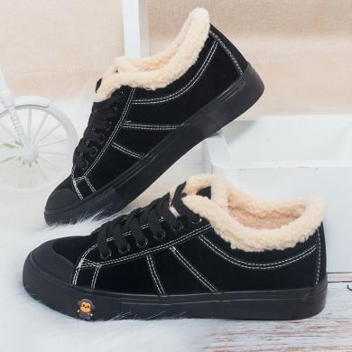 100KM猩猩猴 棉鞋女冬季保暖加绒韩版新款短靴学生休闲鞋平底百搭板鞋