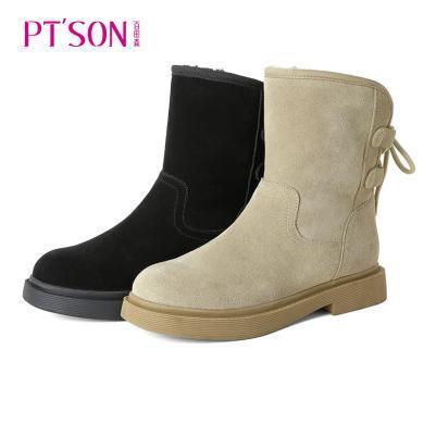百田森雪地靴女皮毛一體冬季新款加絨加厚低跟防滑小短靴女PYQ19831