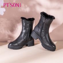 百田森厚底中筒靴女潮冬季新款加绒保暖圆头粗跟增高真皮户外靴PYQ19858