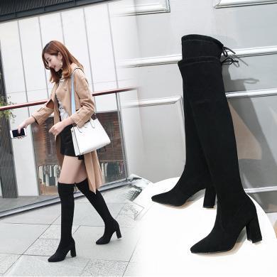长靴女过膝鞋子女新款长?#21754;?#31570;靴子女马靴女鞋秋冬袜靴 MN9903
