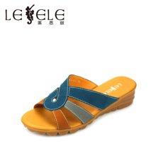 LESELE萊思麗夏季涼鞋拼色低跟牛皮休閑一字涼拖鞋KE81-LB527