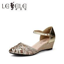 LESELE/萊思麗夏季新款歐美時尚搭扣牛皮女涼鞋SKA51-LB1387