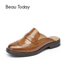 BT 新款穆勒鞋布洛克复古英伦包头半拖鞋女平底无后跟懒人鞋36008