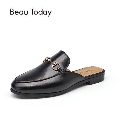 BT 新款皮拖鞋女冬外穿穆勒鞋女包頭半拖鞋女無后跟平底鞋36010