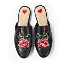 BT 刺绣穆勒鞋女新款复古无后跟懒人包头半拖鞋女时尚外穿35035