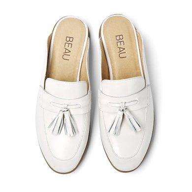 BEAU 新款穆勒鞋平底包頭半拖鞋無后跟懶人鞋流蘇單鞋涼拖A35037