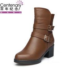 百年纪念新款短靴平底舒适防滑百搭圆头侧拉链女靴粗跟金属扣带女短靴防水台女鞋子bn/133701