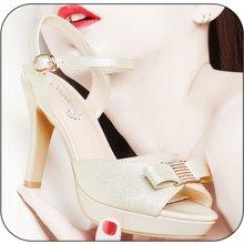百年纪念 露趾浅口低帮鞋 水钻金属搭扣女鞋 粗跟女鞋子bn/ 143201