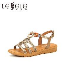 LESELE/莱思丽新款夏季牛皮女鞋子 露趾粗跟鞋搭扣平跟凉鞋女GEH71-LB0678