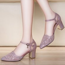 莱卡金顿 女鞋子韩版新款百搭潮镂空凉鞋女夏学生中跟一字带高跟鞋 LK/6218