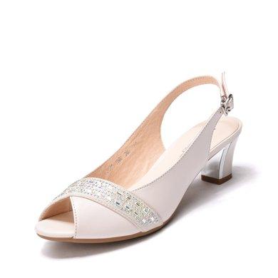 富貴鳥時尚水鉆女鞋淺口女涼鞋中跟粗跟魚嘴鞋子 N99E256C