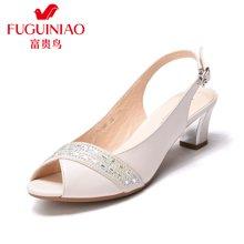 富贵鸟时尚水钻女鞋浅口女凉鞋中跟粗跟鱼嘴鞋子 N99E256C