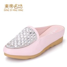 东帝名坊凉鞋女鞋2018新款水钻平跟包头半拖鞋沙滩鞋女厚底懒人鞋 H587L08