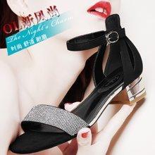 雅诗莱雅 新款露趾浅口凉鞋一字式扣带水钻女鞋方跟女鞋子 YS/3228