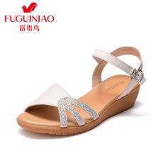富贵鸟女鞋坡跟凉鞋女 时尚水钻厚底一字带凉鞋 N99E040C