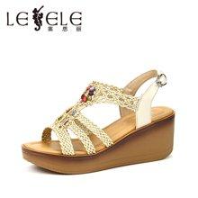 LESELE/萊思麗夏季新款休閑鞋高跟女鞋 露趾牛皮防水臺坡跟涼鞋HAE71-LB2607